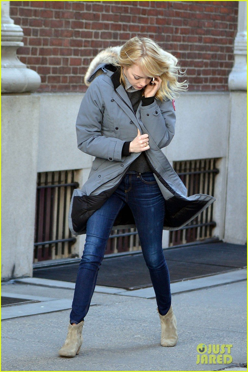 emma stone andrew garfield bundle up in canada goose 072824877