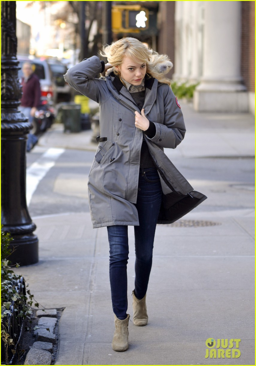 emma stone andrew garfield bundle up in canada goose 092824879