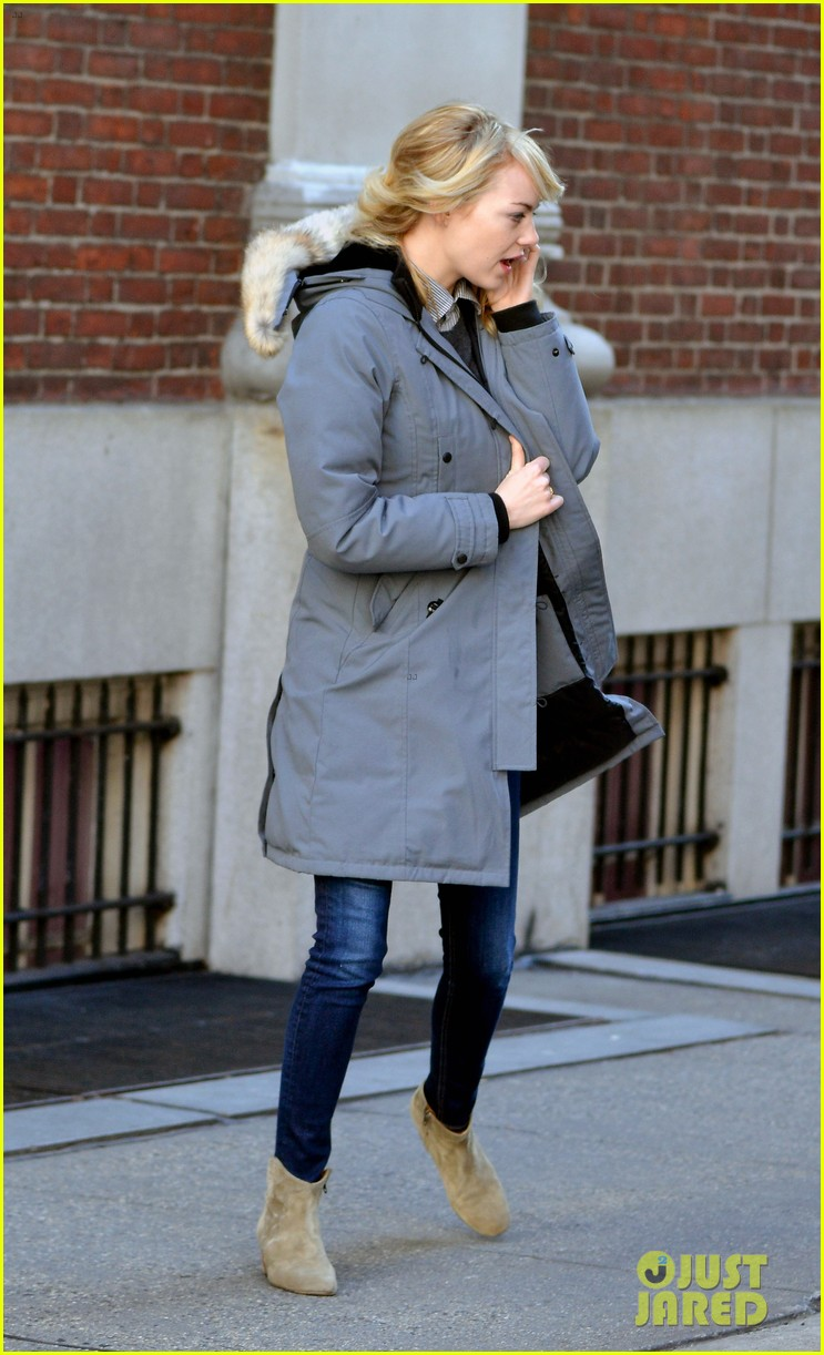 emma stone andrew garfield bundle up in canada goose 102824880
