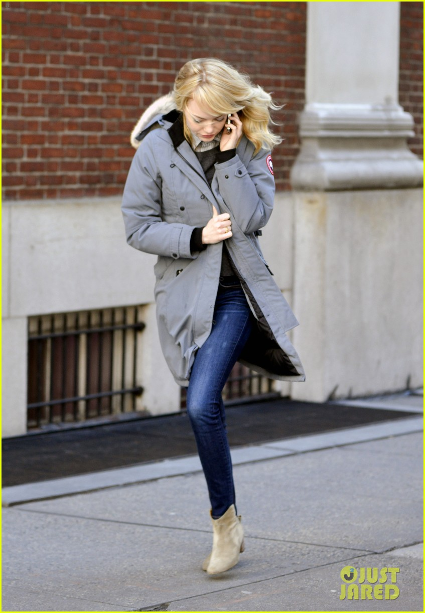 emma stone andrew garfield bundle up in canada goose 112824881