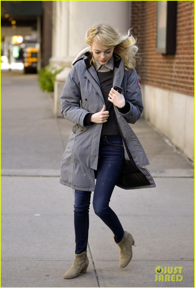 emma stone andrew garfield bundle up in canada goose 122824882