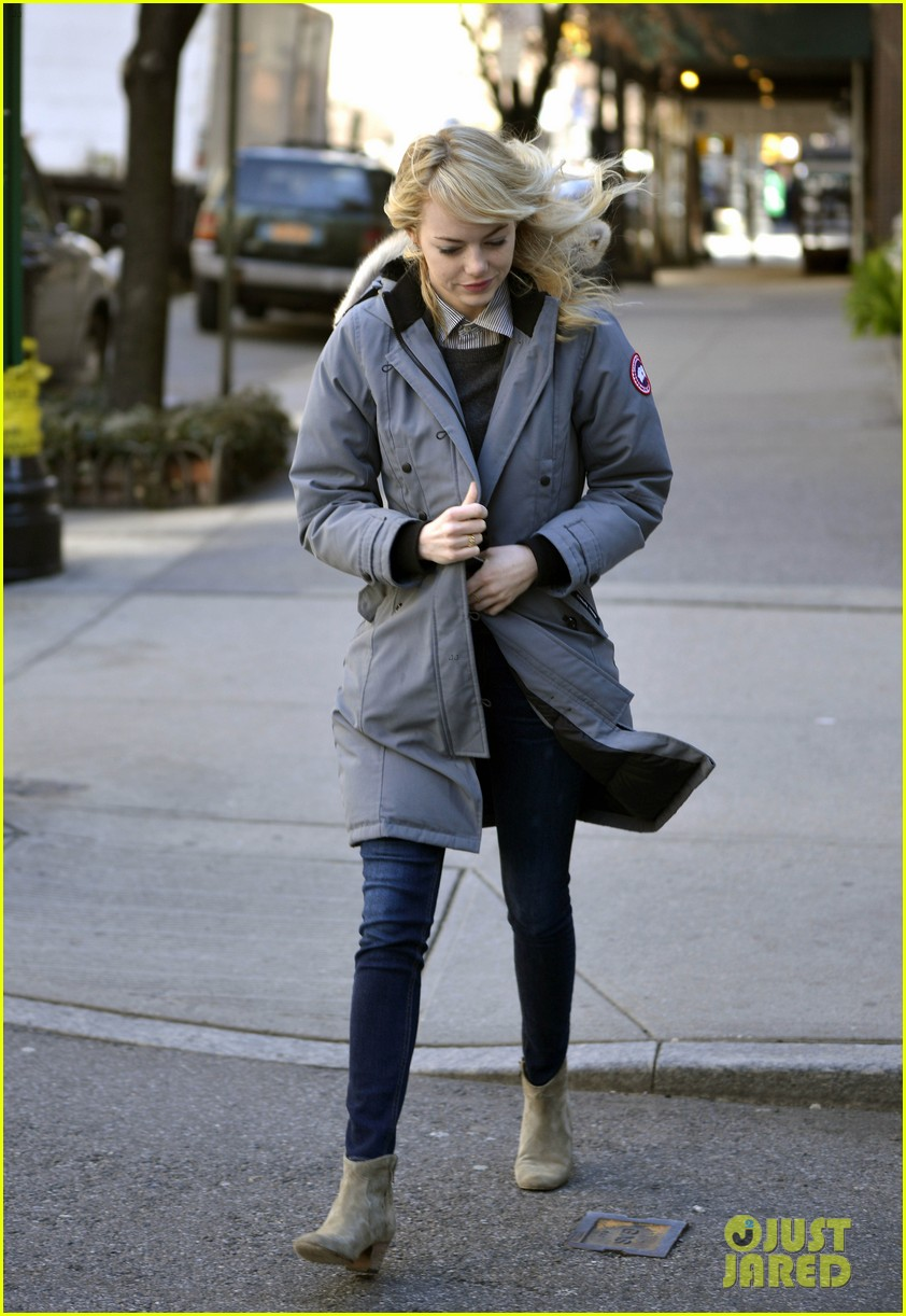 emma stone andrew garfield bundle up in canada goose 132824883