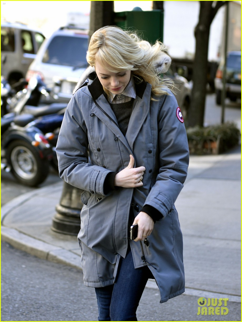 emma stone andrew garfield bundle up in canada goose 142824884
