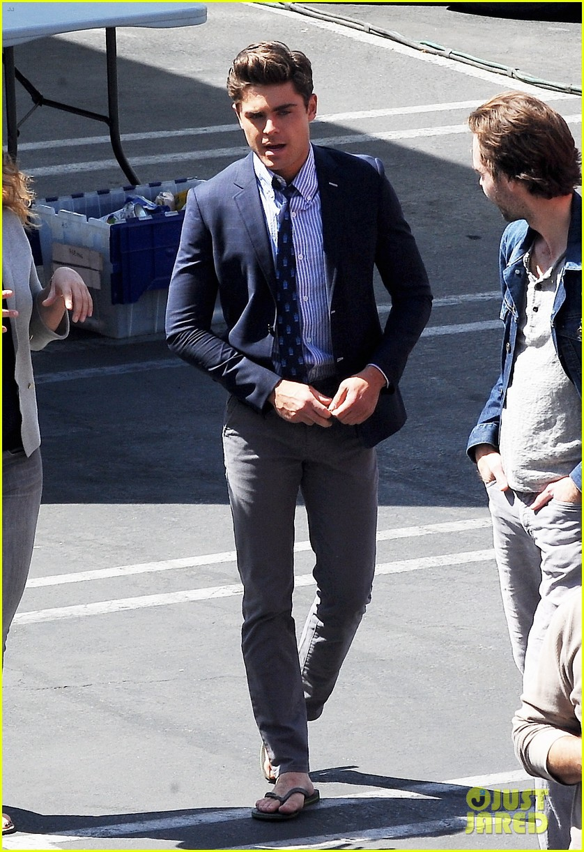 zac efron suit flip flops on townies set 112845708