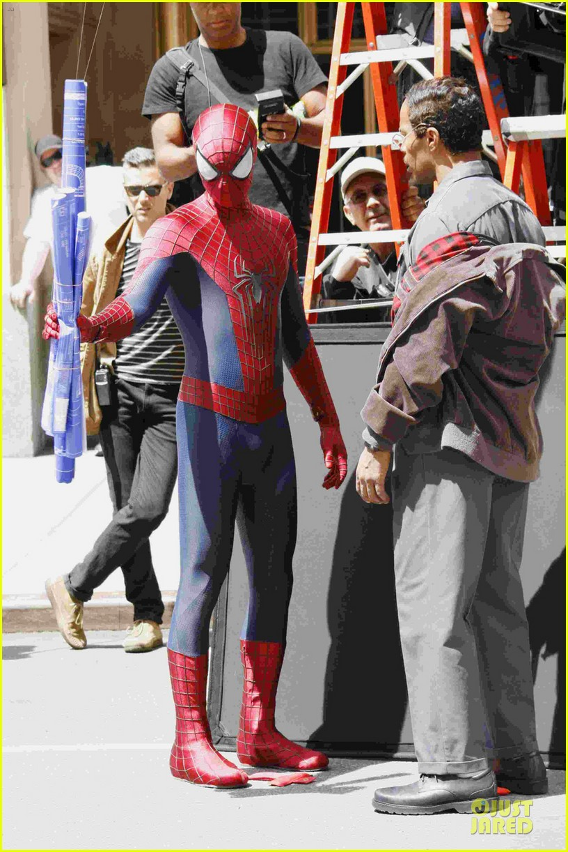 andrew garfield jamie foxx amazing spiderman filming duo 012860915