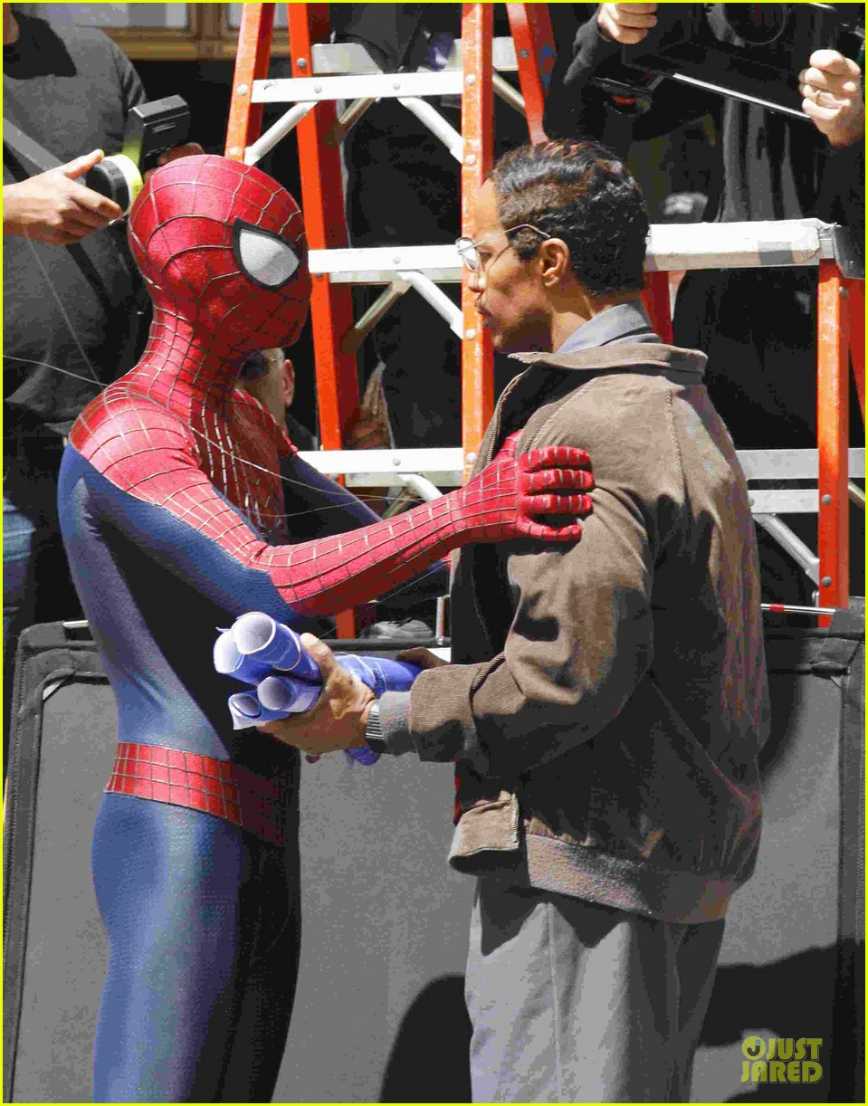 andrew garfield jamie foxx amazing spiderman filming duo 022860916
