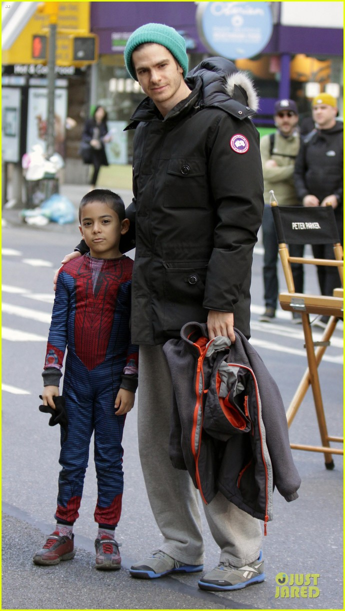 andrew garfield jamie foxx amazing spiderman filming duo 032860917