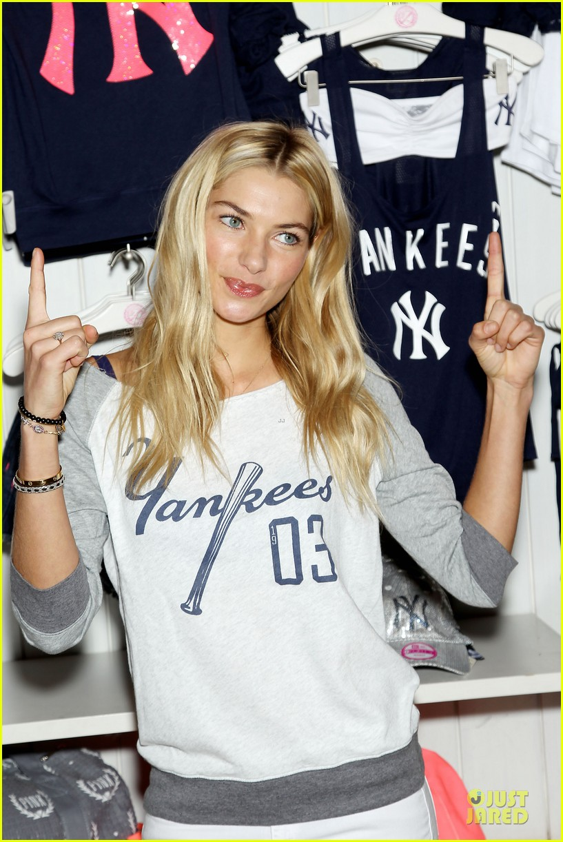 jessica hart yankees opening day new pink mlb collection celebration 152842436