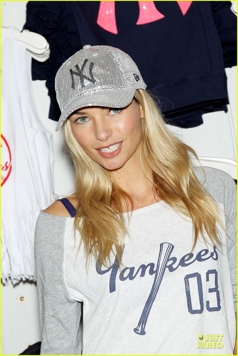 jessica hart yankees opening day new pink mlb collection celebration 222842443