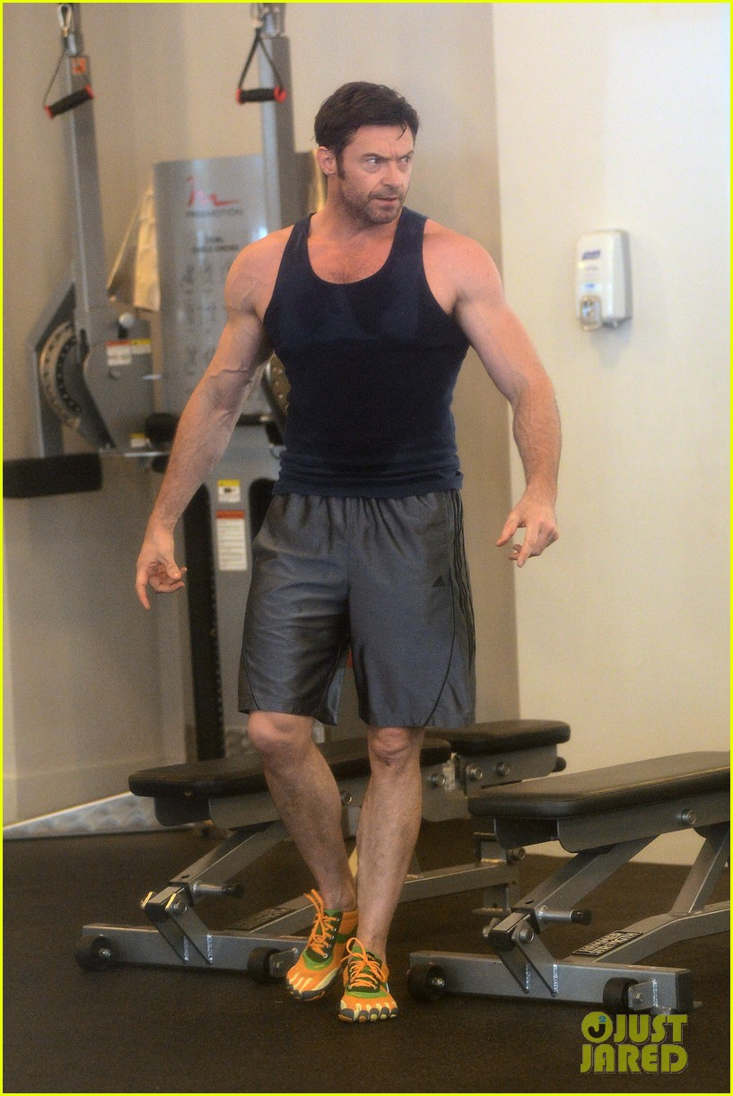 hugh jackman bulging bicep workout 172847038
