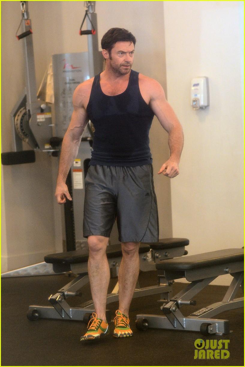 hugh jackman bulging bicep workout 182847039