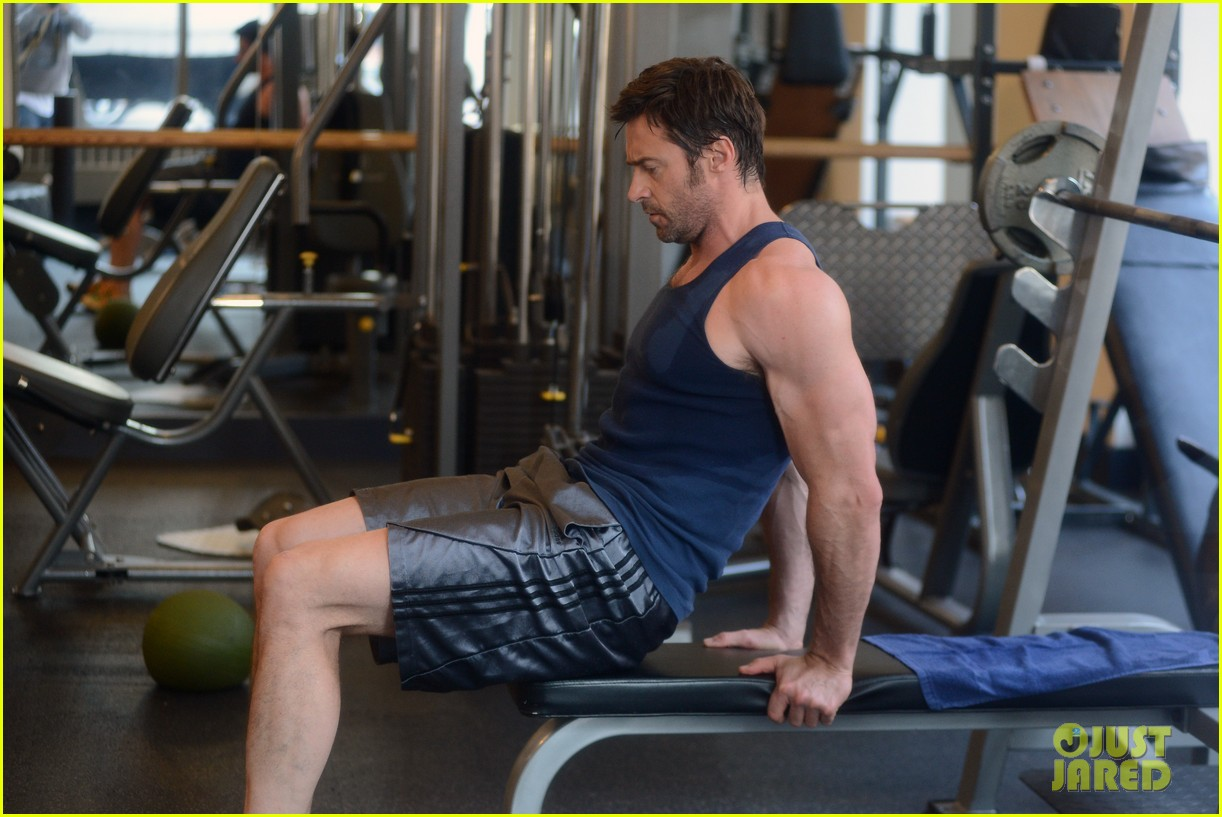 hugh jackman bulging bicep workout 232847044