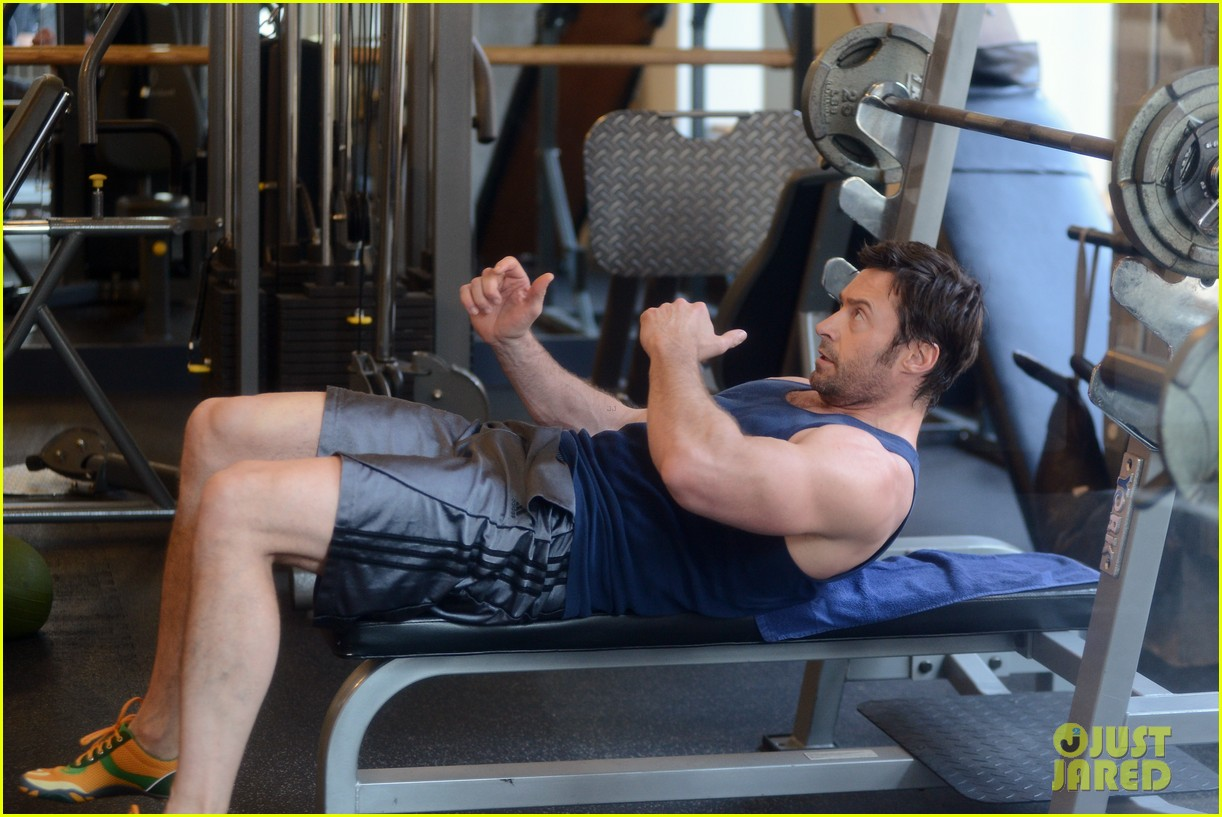 hugh jackman bulging bicep workout 252847046