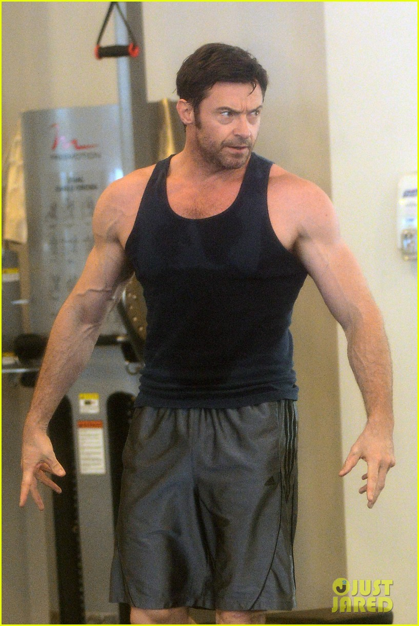 hugh jackman bulging bicep workout 312847052