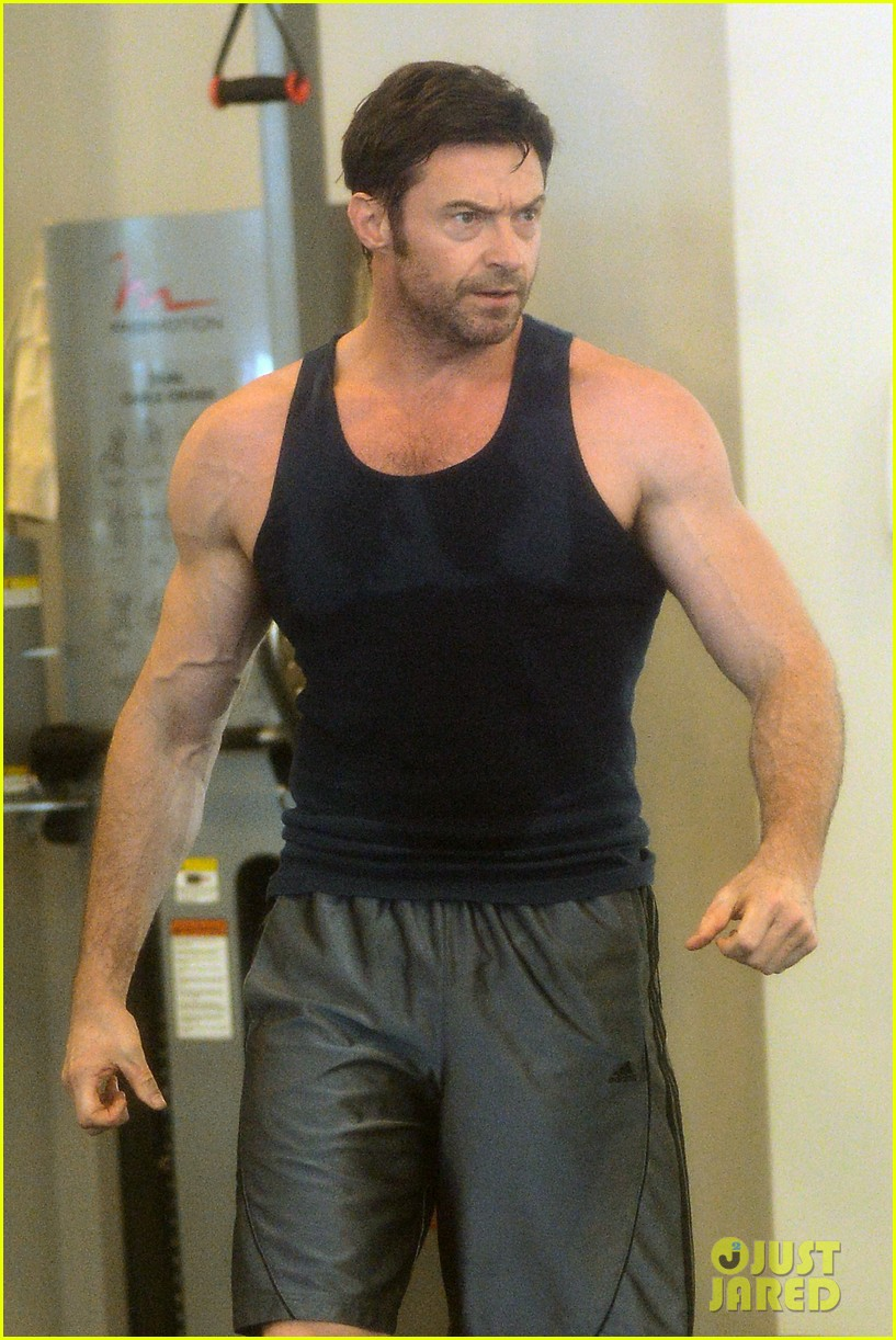 hugh jackman bulging bicep workout 322847053