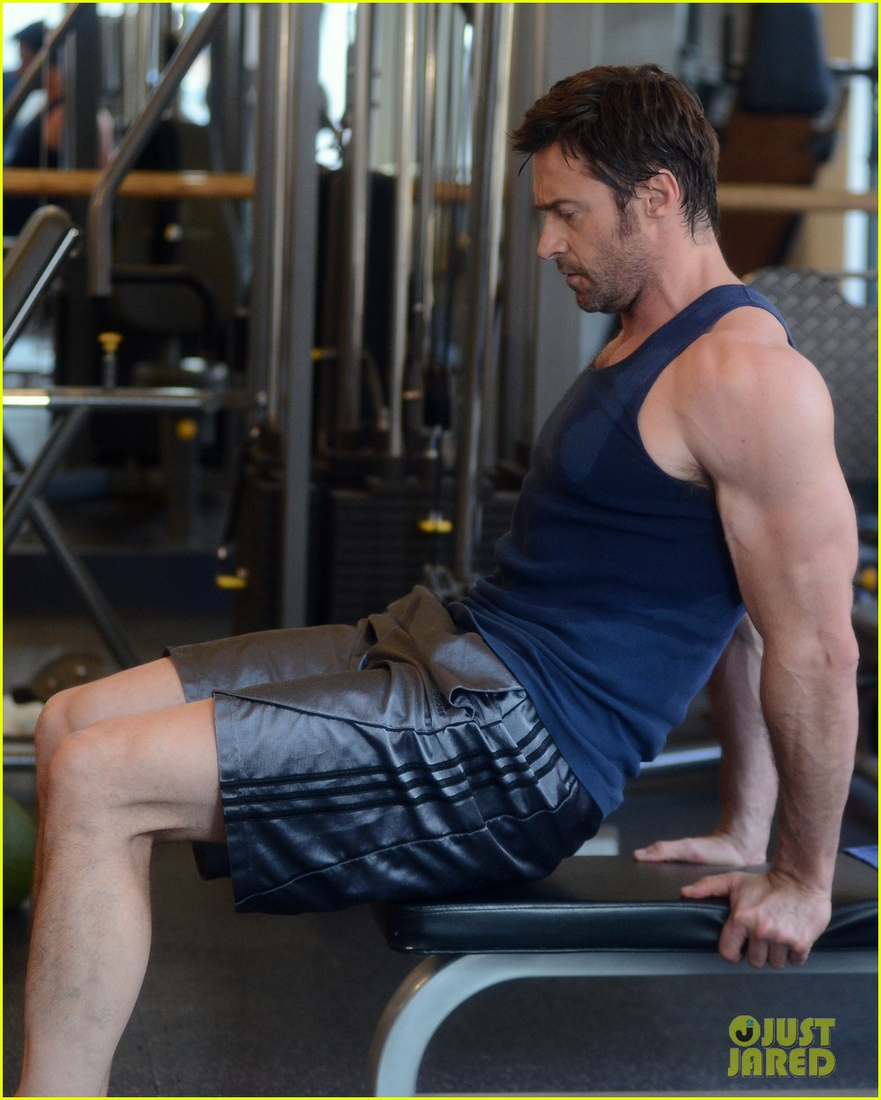hugh jackman bulging bicep workout 332847054