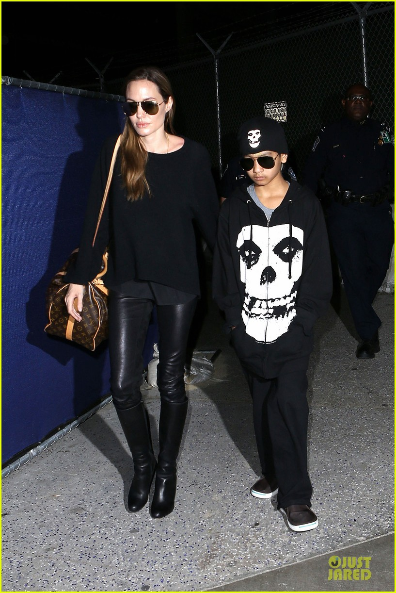 angelina jolie lax arrival with maddox 092848580