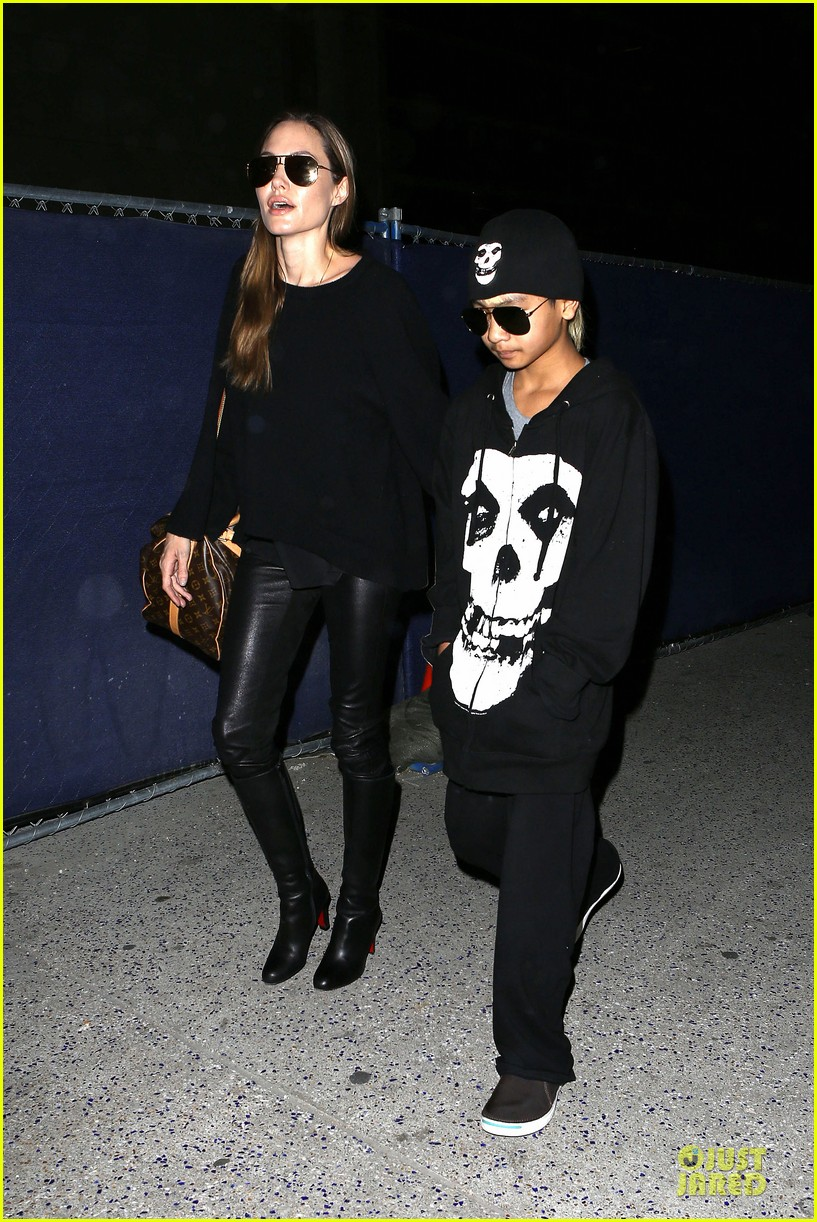 angelina jolie lax arrival with maddox 112848582