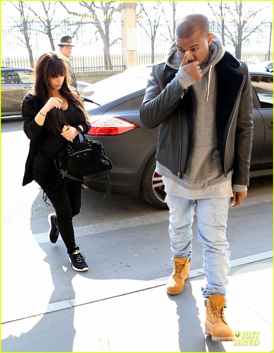 kanye west kim kardashian pregnant paris departure after easter weekend 01