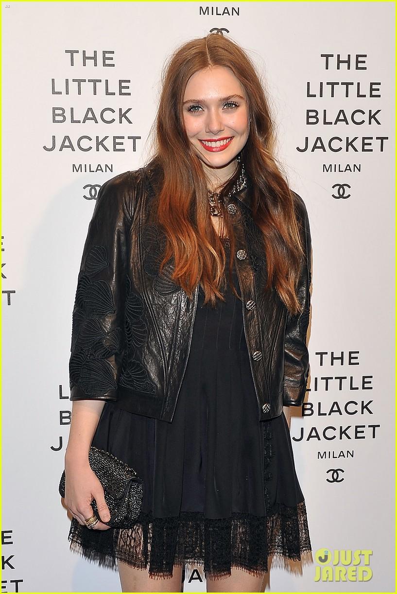 elizabeth olsen chanel little black jacket event 222843483