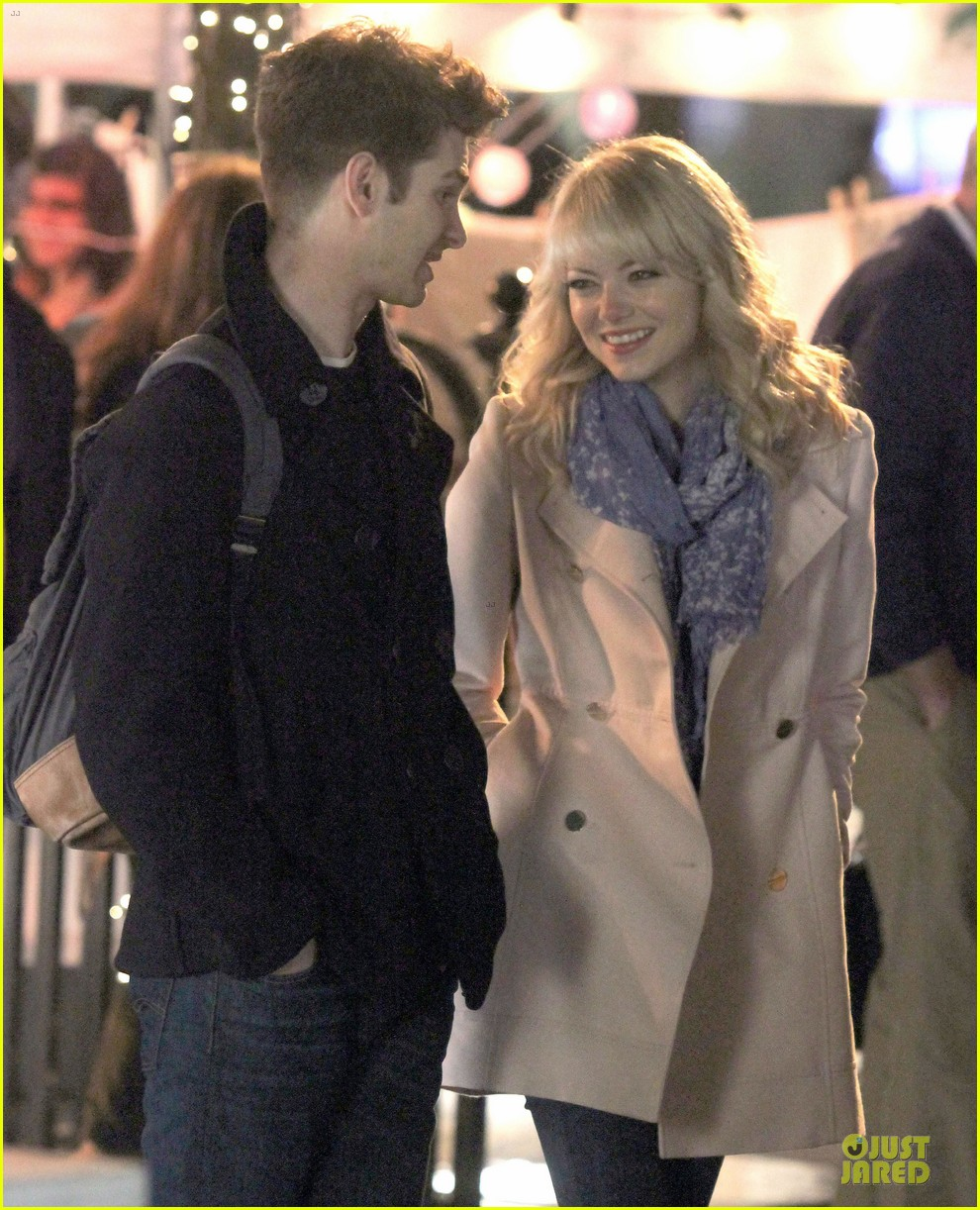 emma stone andrew garfield night scenes on amazing spiderman 2 set 022851749