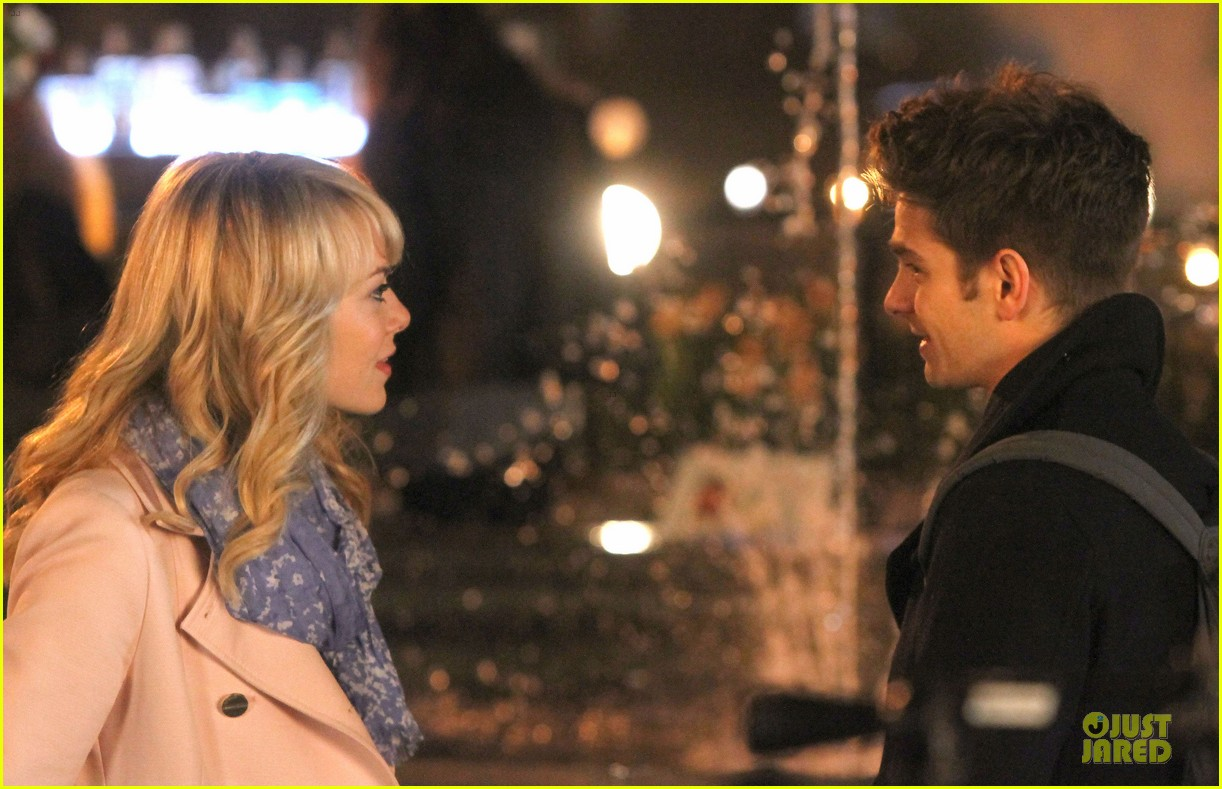 emma stone andrew garfield night scenes on amazing spiderman 2 set 102851757