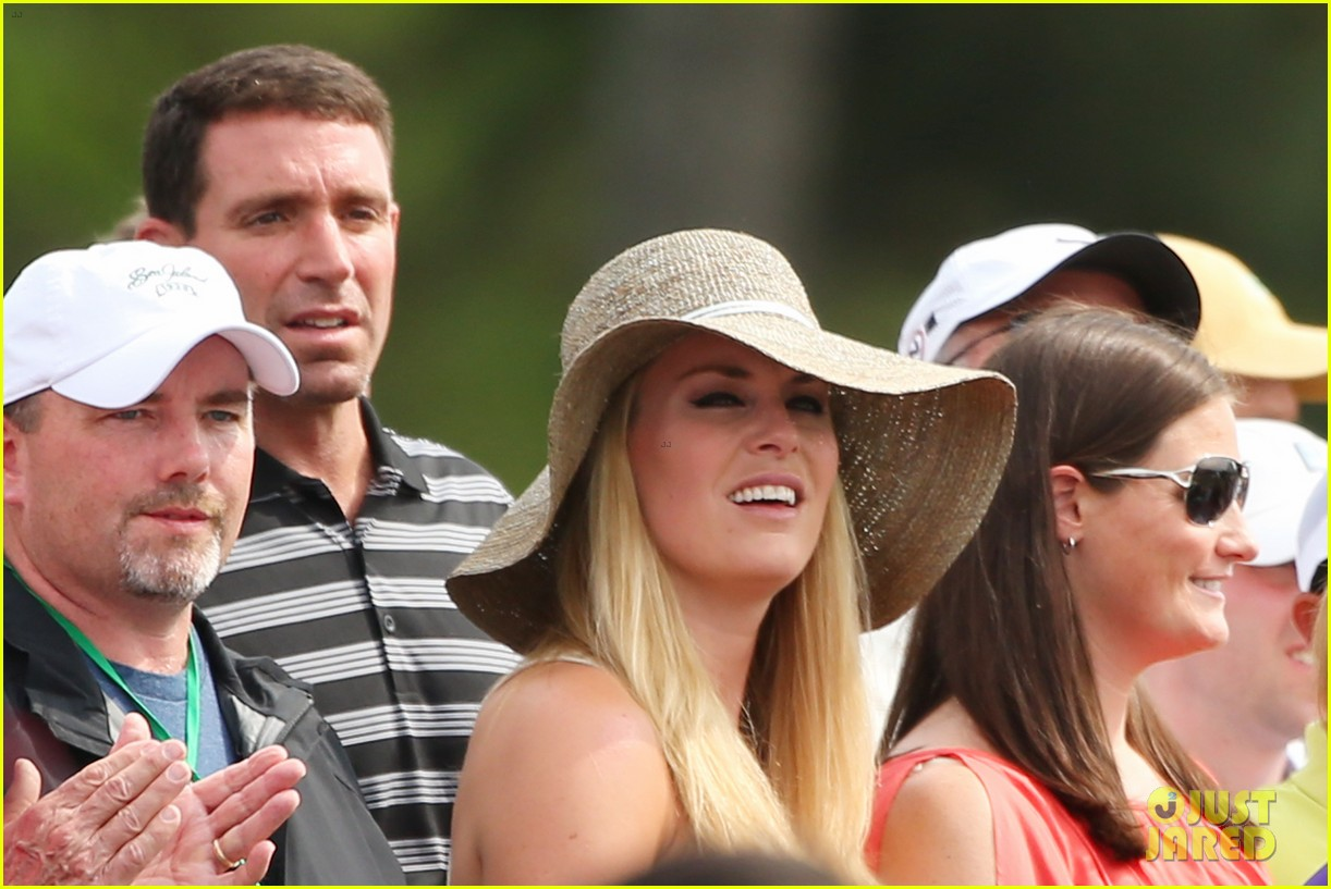 lindsey vonn cheers on tiger woods at masters tournament 282847904