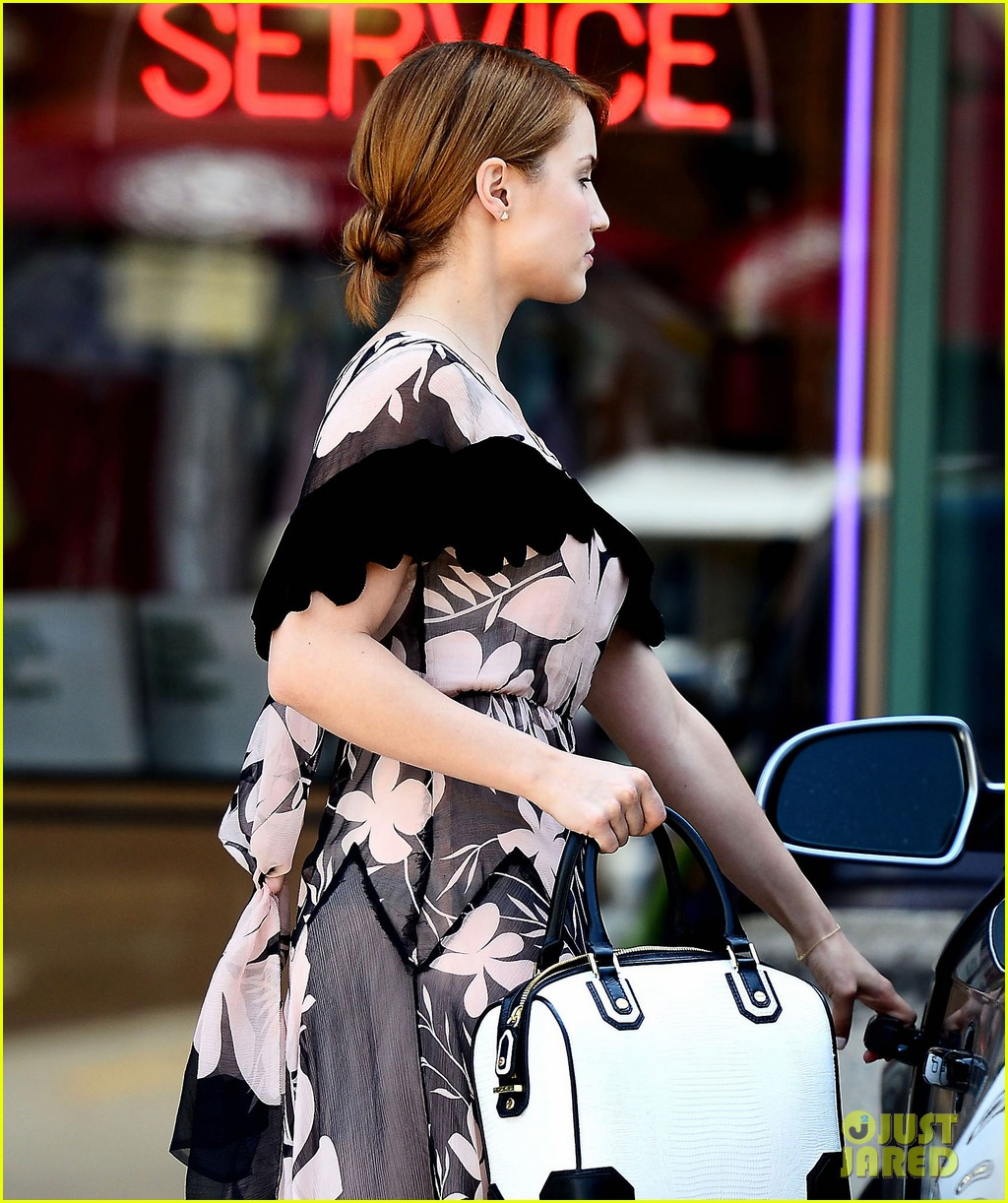 dianna agron wears floral dress with cape to att store 022866695