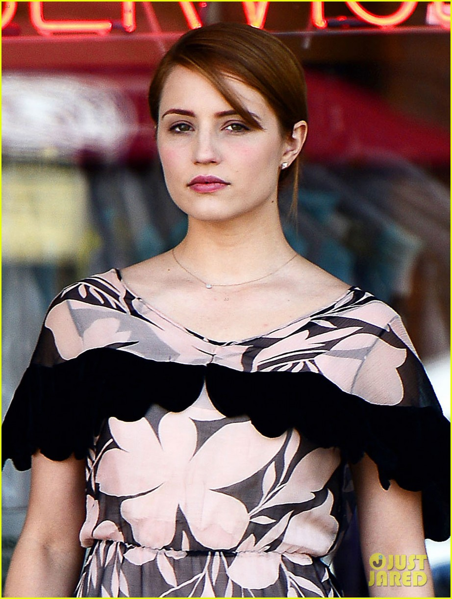 dianna agron wears floral dress with cape to att store 032866696