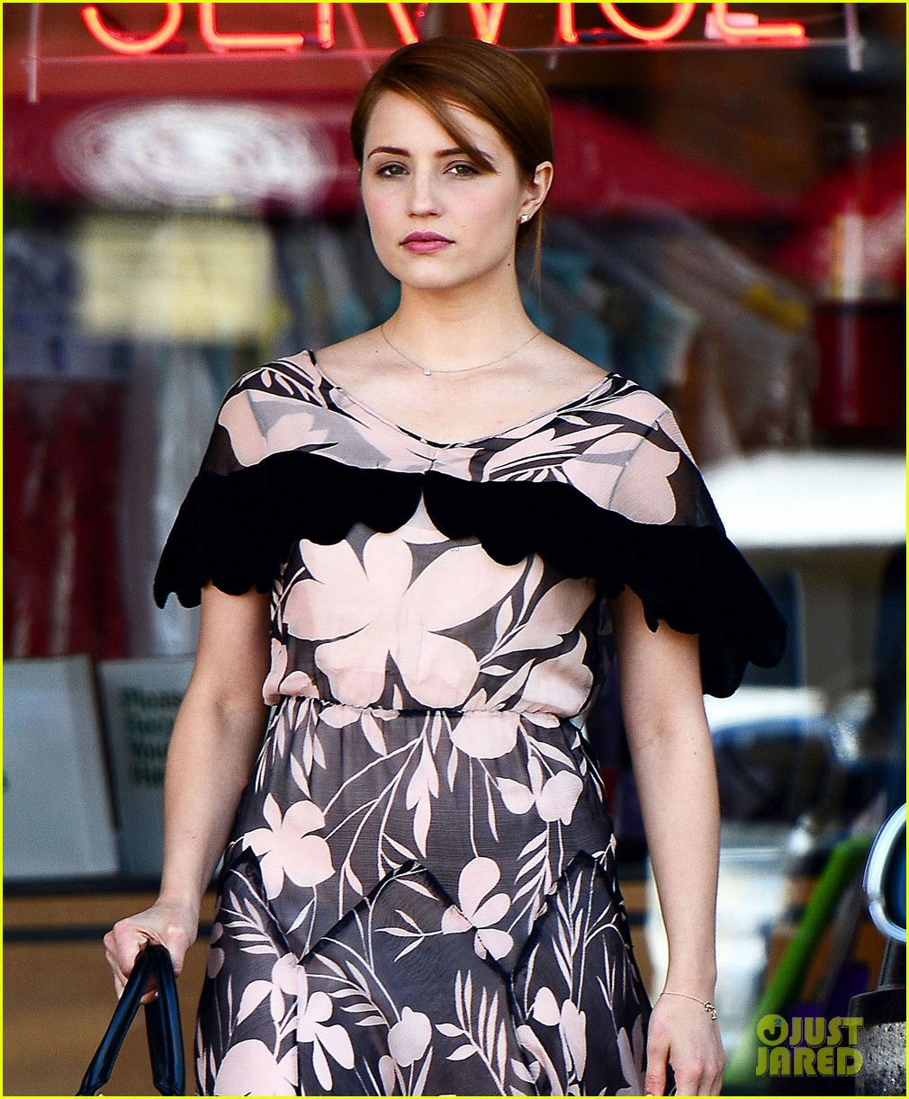 dianna agron wears floral dress with cape to att store 052866698
