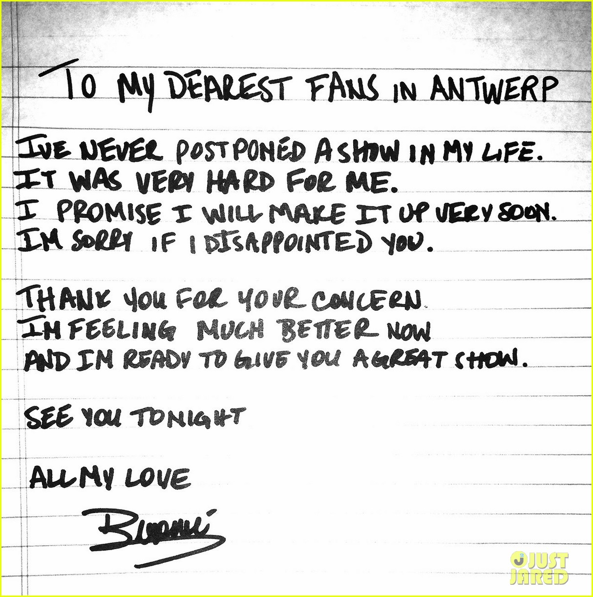 beyonce writes handwritten note after cancelled concert 01
