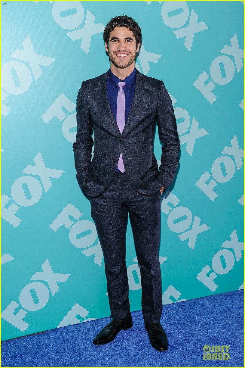 jenna ushkowitz chris colfer fox upfront presentation with glee cast 052869949