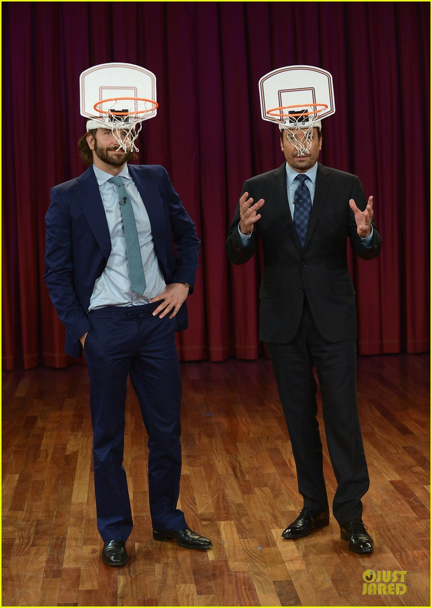 bradley cooper wears mini basketball hoop on fallon 032869759