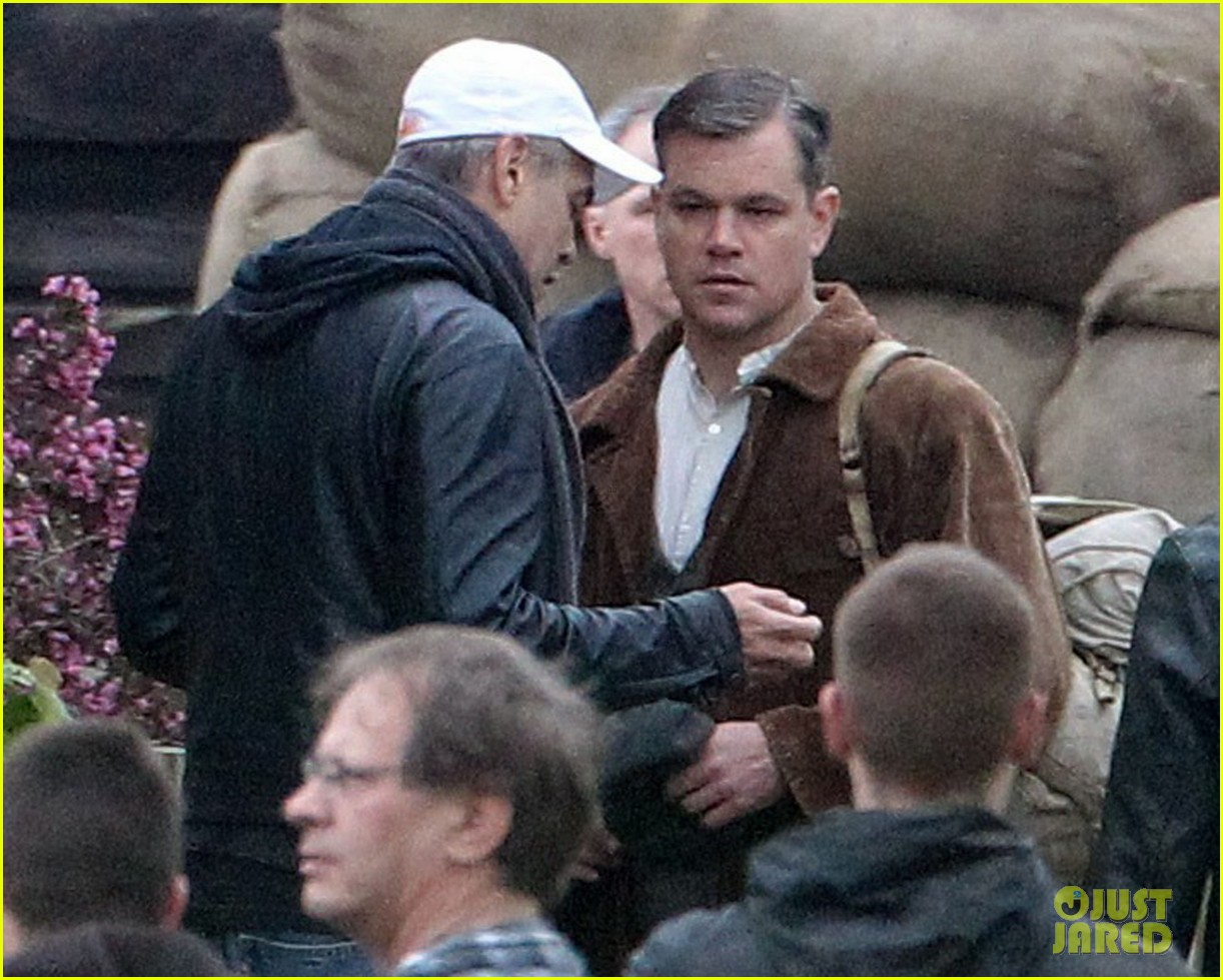 matt damon george clooney get to work on monuments men 042880918