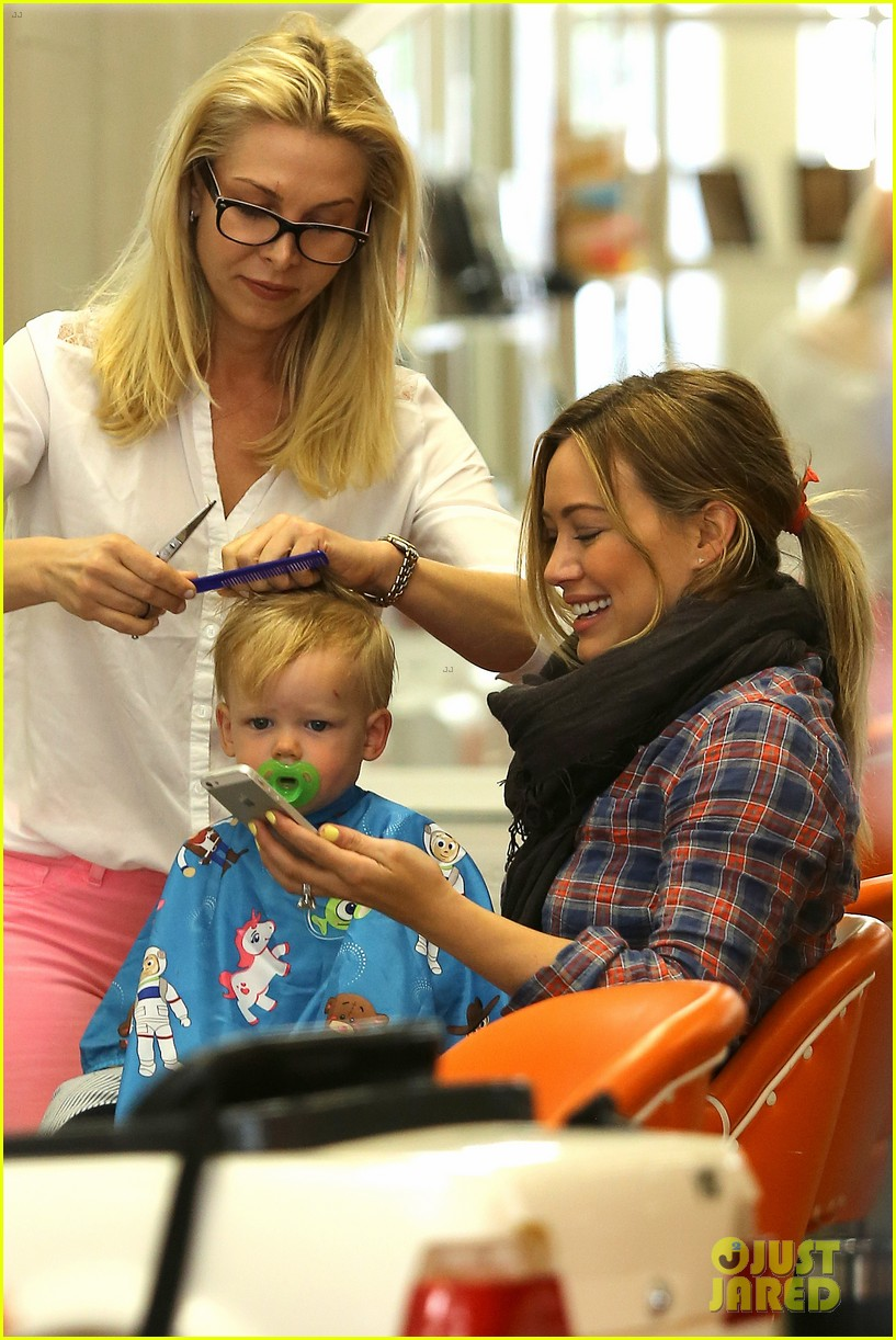hilary duff luca gets his hair cut 072867670