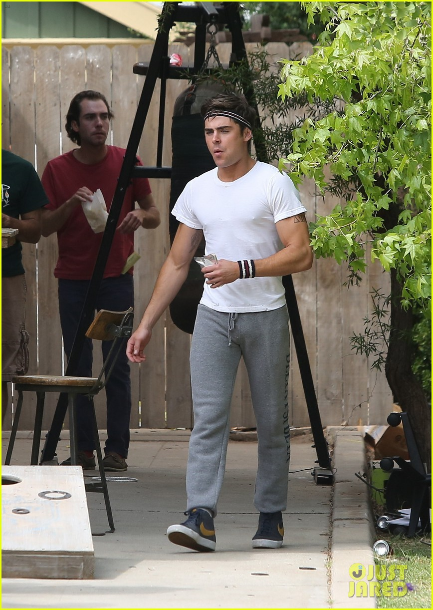 zac efron sweats it out with dave franco on townies set 062867018
