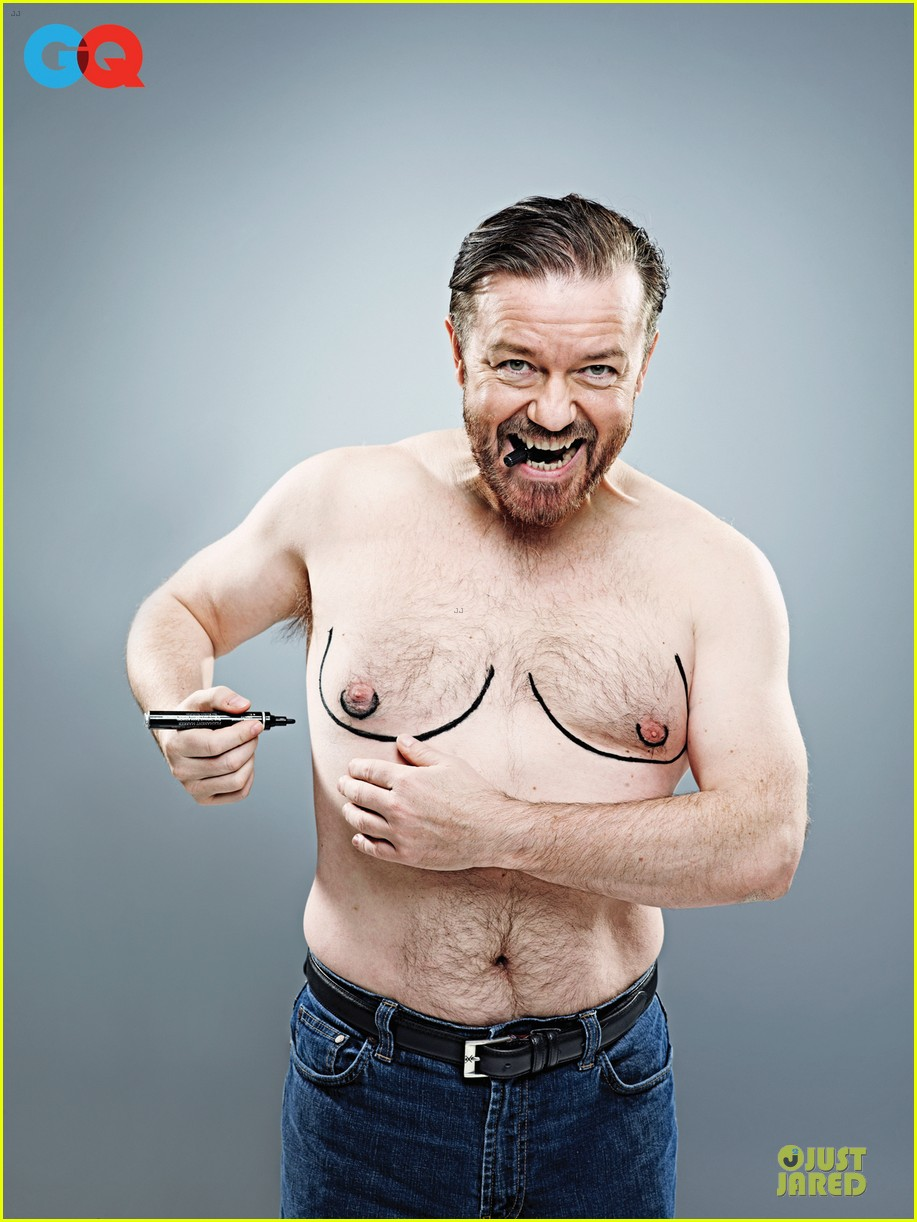 shirtless ricky gervais ellie kemper gq june feature 022870494