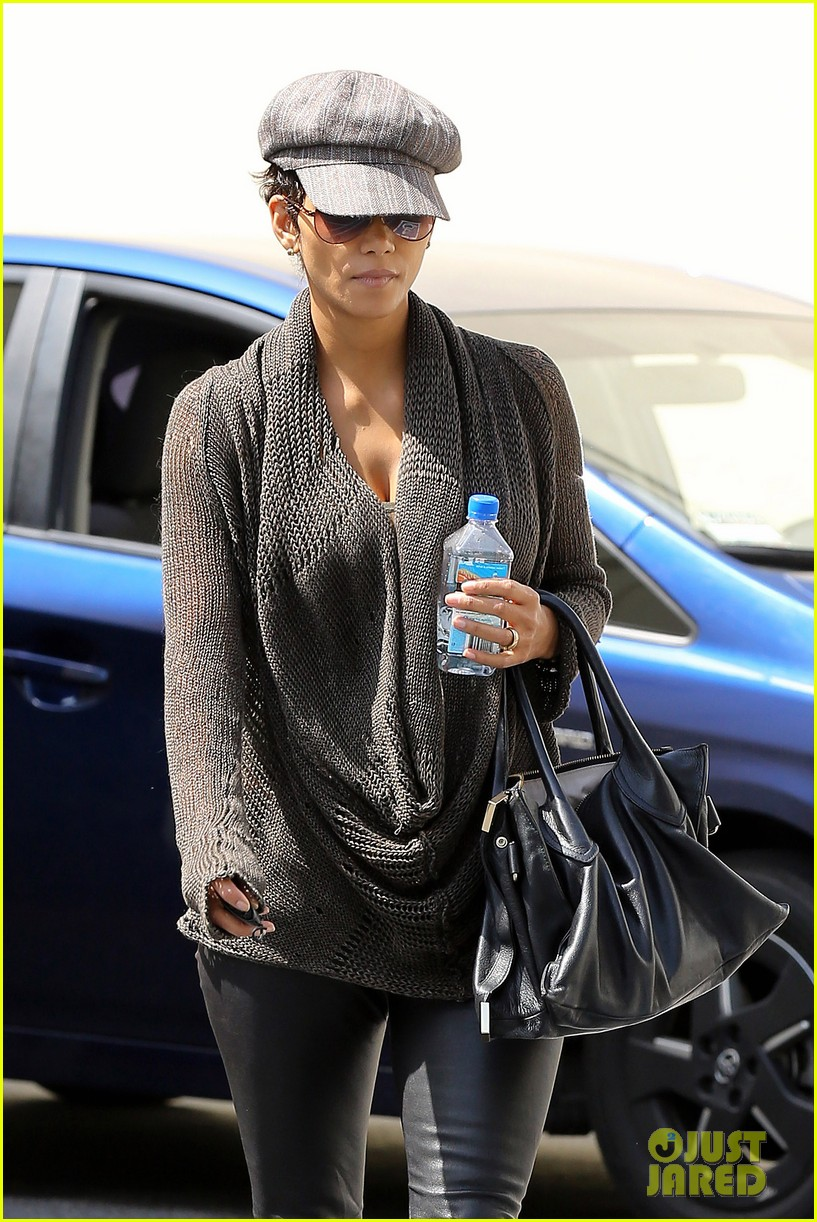 halle berry rocks leather pants while shopping 172867222
