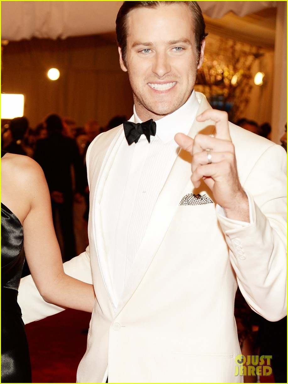 armie hammer met ball 2013 red carpet with elizabeth chambers 032865904