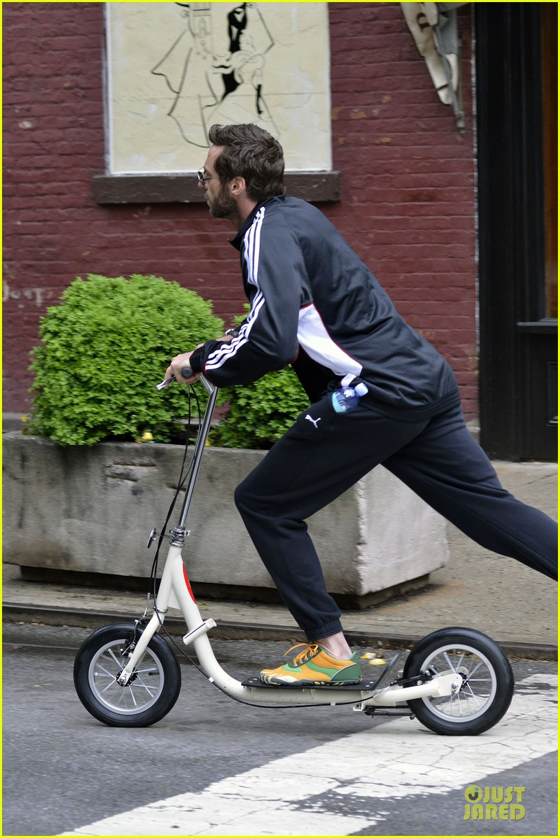 hugh jackman big apple scooter rider 062875813