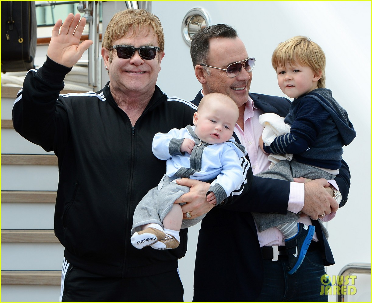Family photo of the musician, married to David Furnish,  famous for Bennie & The Jets.