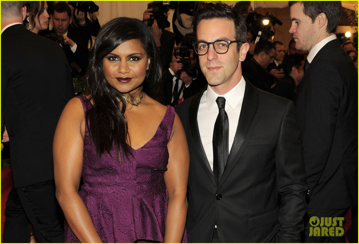 mindy kaling met ball 2013 red carpet with bj novak 042865855