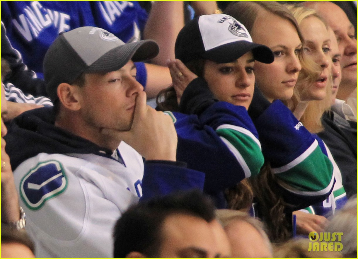 lea michele cory monteith cheer on the canucks 012862401