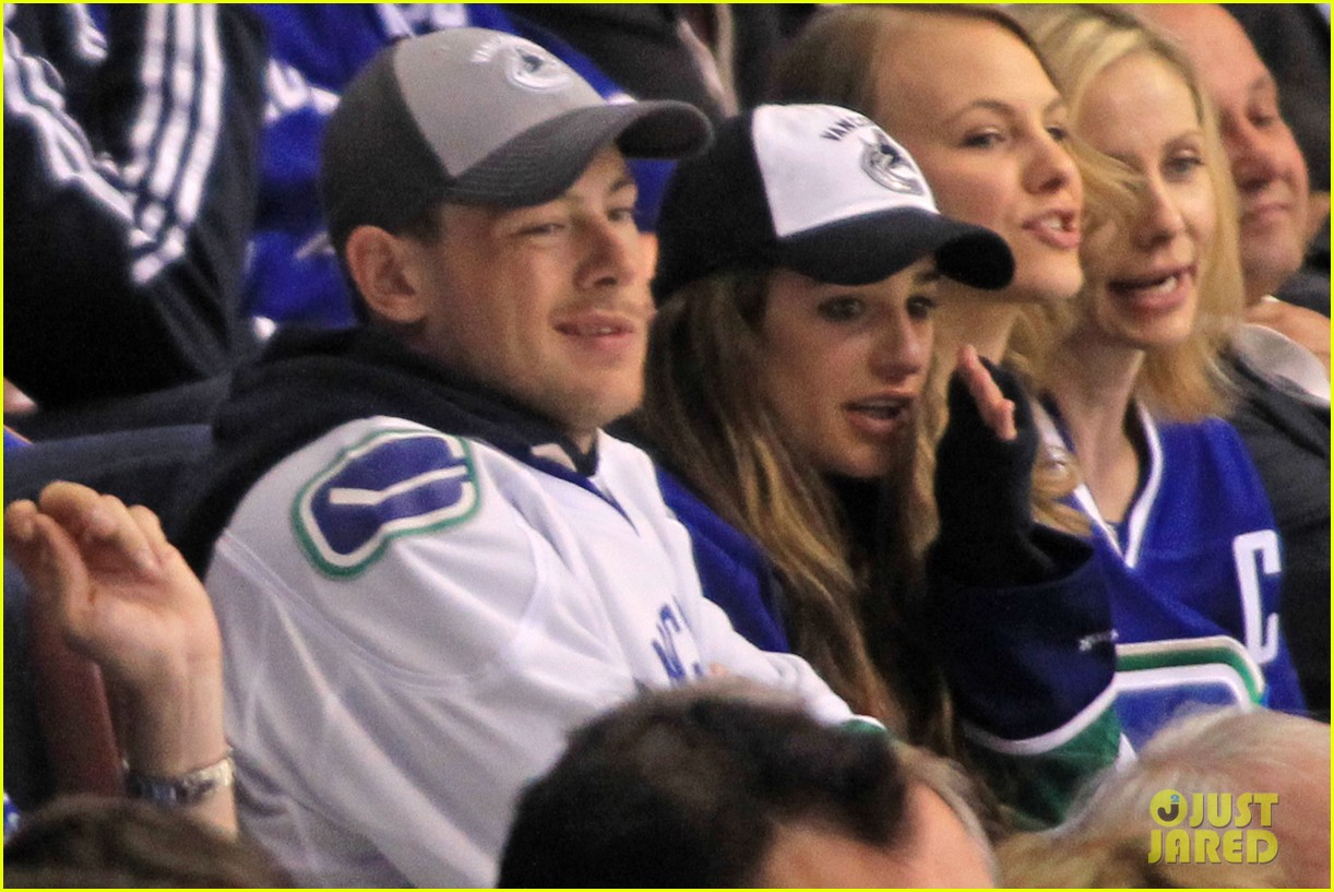 lea michele cory monteith cheer on the canucks 032862403
