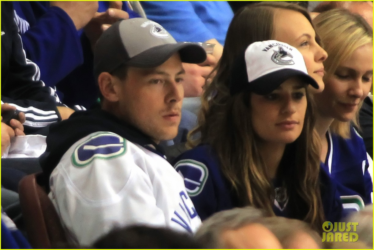 lea michele cory monteith cheer on the canucks 052862405