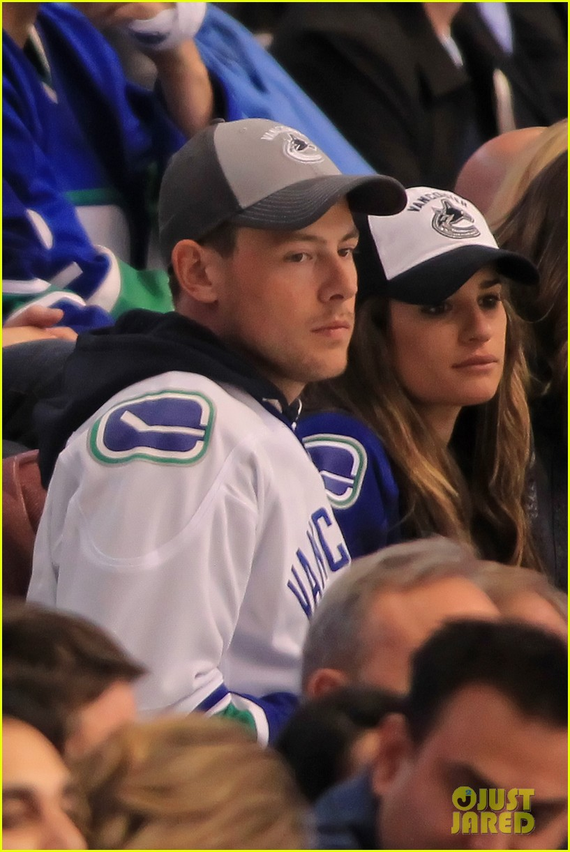 lea michele cory monteith cheer on the canucks 132862413