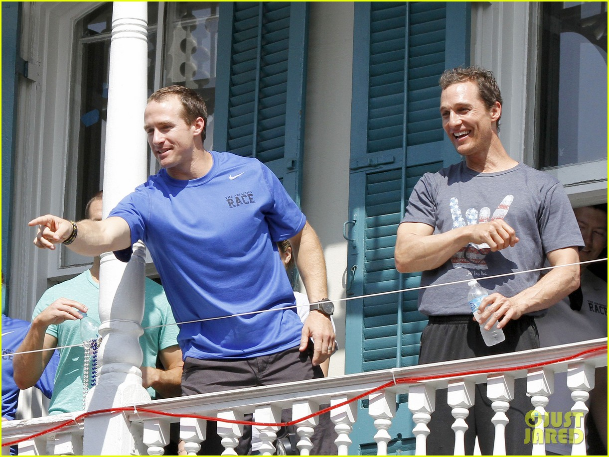 matthew mcconaughey amazing race event with drew brees 252873159
