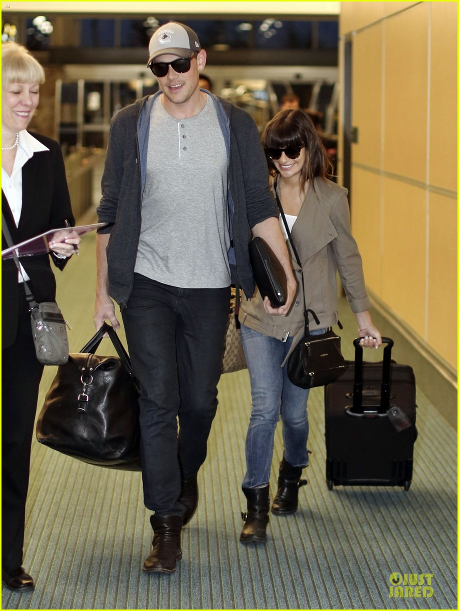 lea michele cory monteith vancouver departing couple 012863471