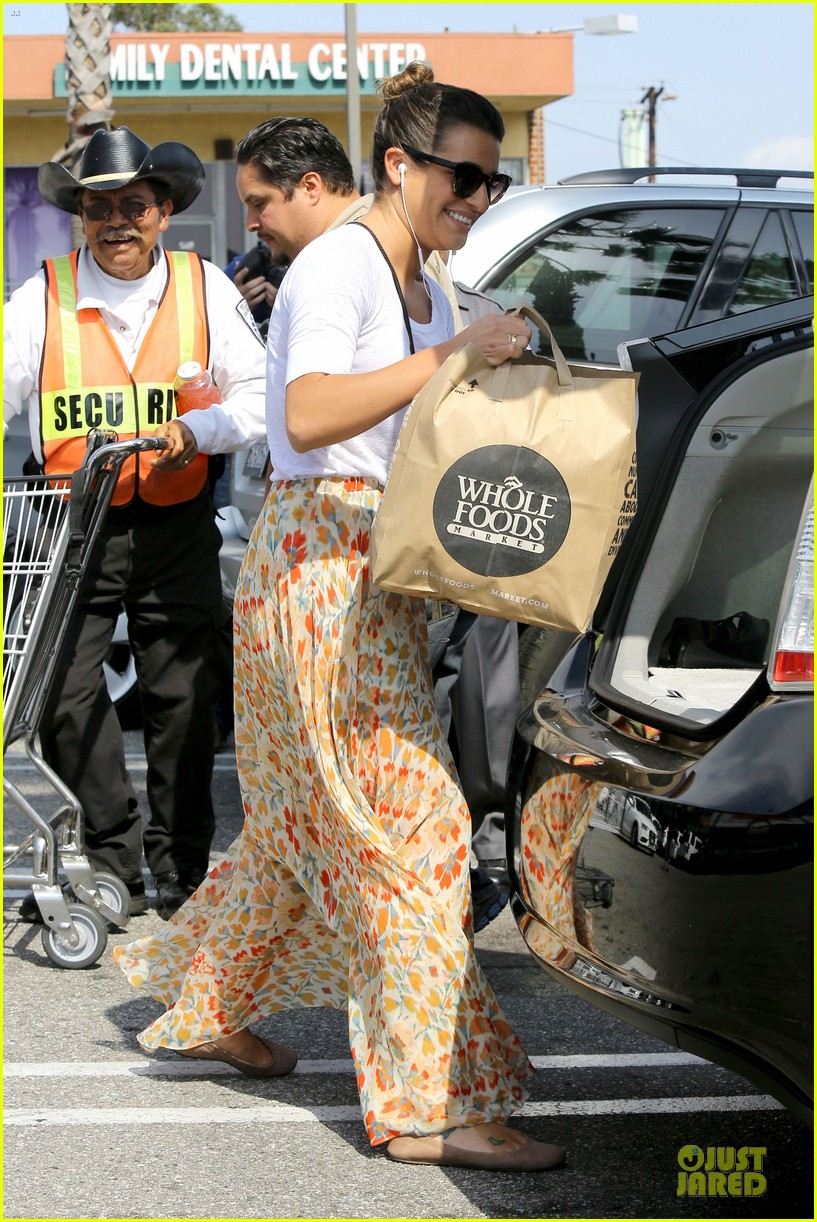 lea michele sheer grocery run cory monteith striped office meeting 032872583