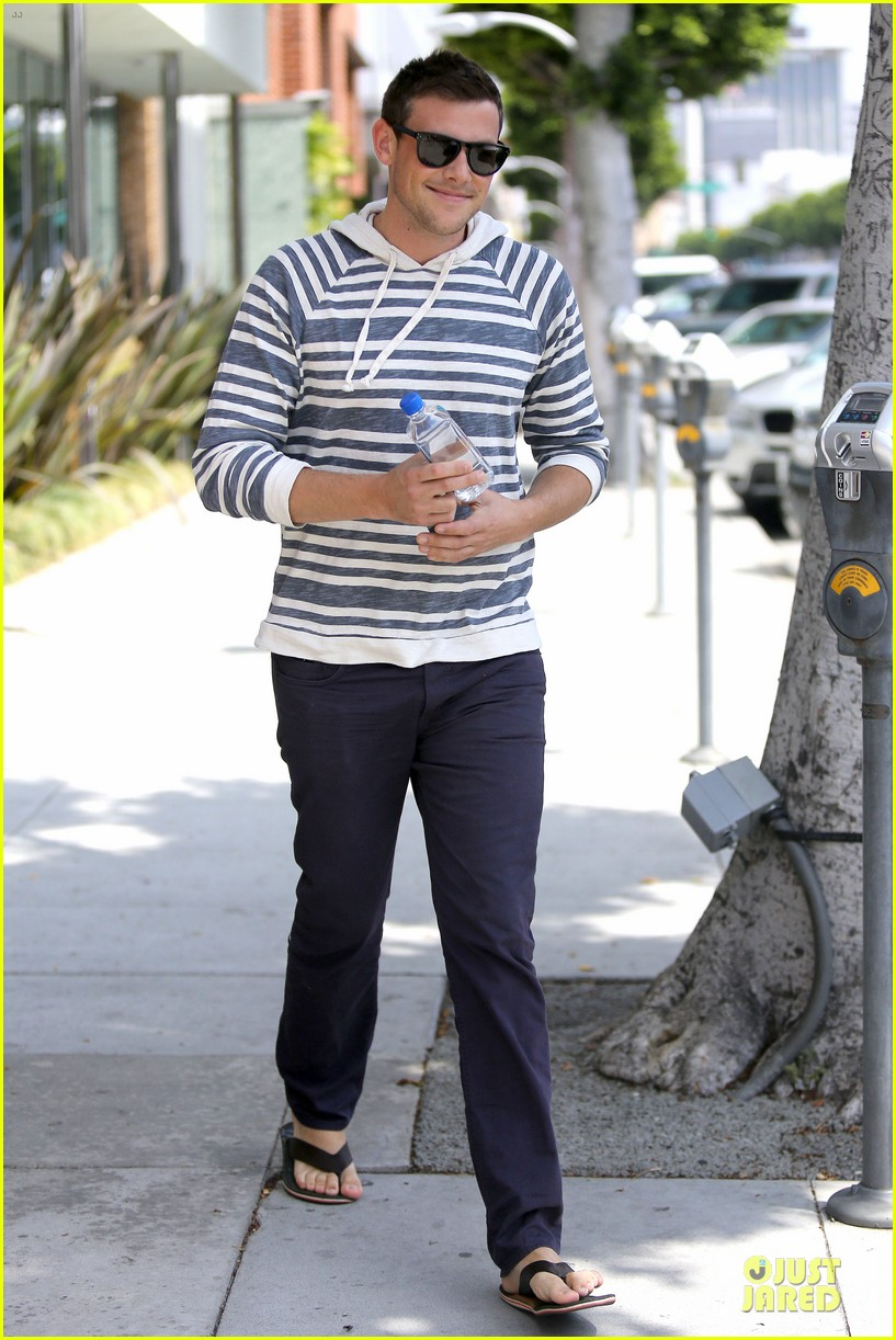 lea michele sheer grocery run cory monteith striped office meeting 062872586